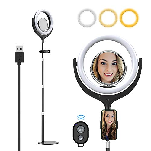 Yoozon 10' LED Ring Light with Metal Base & Cell Phone Holder for Live Streaming/YouTube...