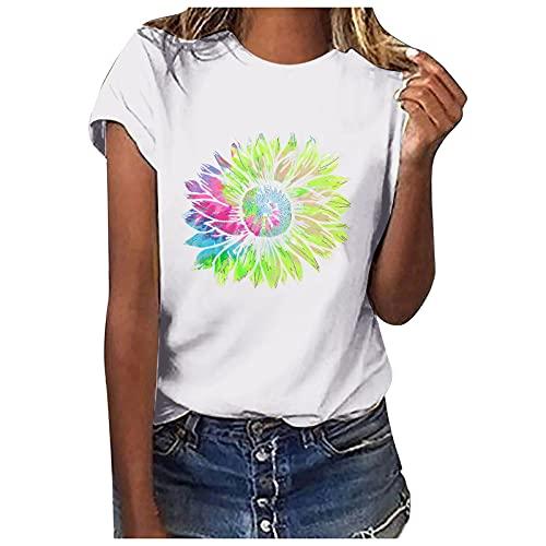 Pistaz Camisa de manga corta para niña con estampado de girasoles, color liso, estilo informal, Blanco, 36