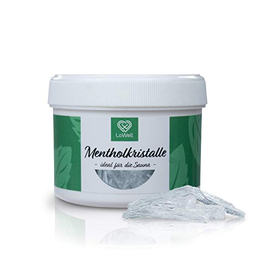 LoWell® - Mentholkristalle 40g in wiederverschließbarer Dose - Premium-Qualität Sauna Kristalle Saunakristalle Menthol