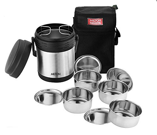 Milton Thermosteel Hot Meal Container Lunch Box, Set of 4,Black/Stainless Steel