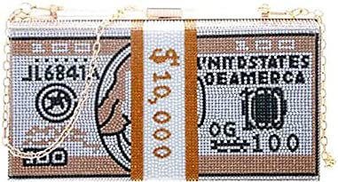 Holly Chic LA, Money Clutch bag, Bling Shiny Dollar Rhinestone Handbag,Money Clutch Purse, Evening Crossbody Bag, Party Shoulder Bag, for Women Girl Home Travel Outdoor