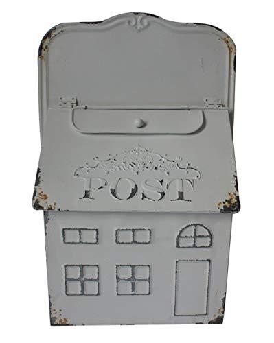 Briefkasten aus Metall, verwittert, Used-Look, Vintage, Retro, Weiß