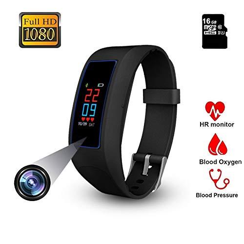 Uhr Kamera Fitness Armband OLED Touchscreen Versteckte Kamera Smart Bracelet Männer 1080P Spycam tragbare Kamera Aktivitätstracker Frauen Pulsmesser Pulsuhr Sportuhr für iOS Android mit Bluetooth 16GB