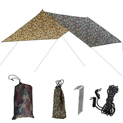 pegtopone Lona de camping de 10 x 10 m, hamaca para la lluvia, portátil, protección solar, ligera, impermeable, resistente al viento, protección solar contra rayos UV, camuflaje