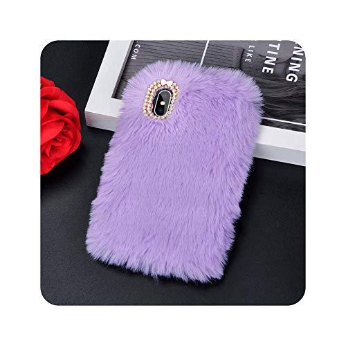 Funda de piel de conejo sintética para iPhone 8, 7, 6, 6S Plus, funda de piel de conejo para iPhone X, XS, Max, XR 5, 5S SE, funda para iPhone 6, 6S, color morado