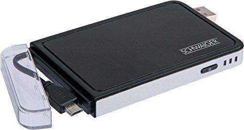 Schwaiger LPB300M 513 Powerbank (3000mAh) mit integriertem Micro-USB Kabel schwarz