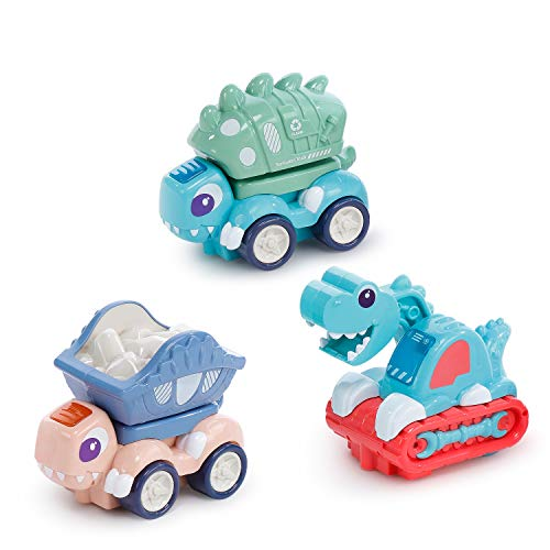3 Pack Baby Toy Car Dinosaur Toy Car with Light and Music for Toddler 1-3 Year Old Dino Truck Toy Educational Wheel Car Toy for Toddler