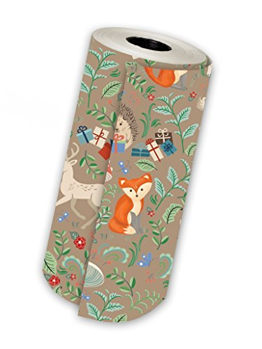 Jillson Roberts 1/4 Ream Gift Wrap, Krafty Fox, 208 Feet x 30 Inches (B385.25)