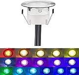 Dystaval - 1 faretto LED da incasso RGB Colore, impermeabile IP67, Ø 45 mm, per terrazza in legno, piscina esterna, faretti da incasso RGB Soffitto DC12 V, mini faretto LED