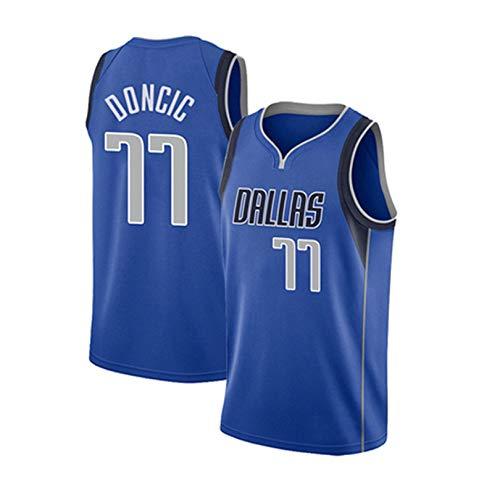 YUD Dallas Mavericks No. 77 Doncic Uniforme de Entrenamiento, Chaleco Deportivo de Malla Bordada, Sudadera sin Mangas para Exteriores XL A