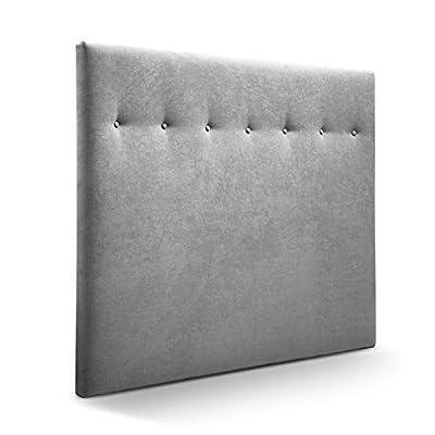 Cabecero tapizado acolchado para dormitorios con estructura en madera de pino Cabecero de cama acolchado con espumación HR Cabecero tapizado en tela antimanchas/polipiel Para camas de 180 (190 x 120 cm) tela gris