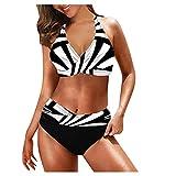 Traje De BañO para Las Mujeres Trajes De BañO Tankini para Mujer Trajes De BañO Bañadores Mujer Tallas Grandes Bikinis Calzedonia White-3 L