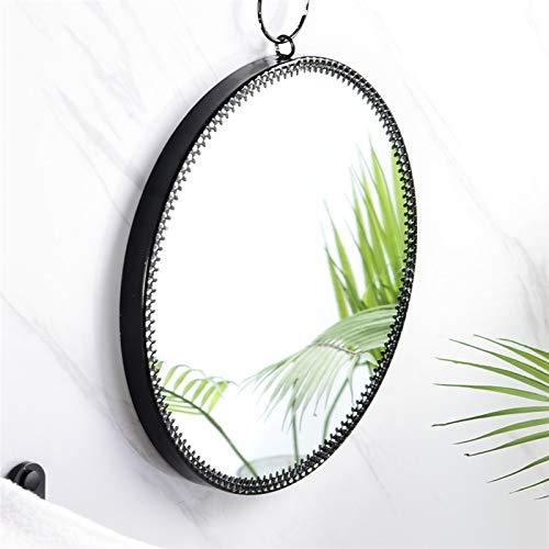 Espejo para maquillarse Espejo redondo nórdico decoración del hogar geométrico metal espejo simple maquillaje espejo sala de estar dormitorio baño pared colgando decorativo ( Color : Golden style A )
