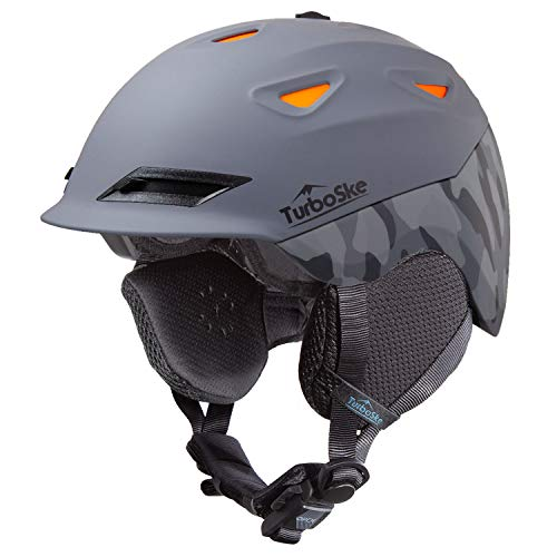 TurboSke Ski Helmet Snowboard Helmet - Active Ventilation Audio Compatible Snow Sports Luxury Helmet with ASTM Certified Safety for Men Women and Youth (L, Gray-Camo)