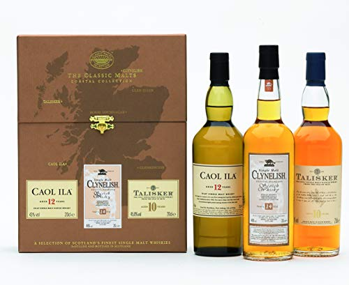 The Classic Malts Collection Pack Coastal, Single Malt Whisky Pack mit Talisker 10, Caol Ila 12, Clynelish 14 (3 x 0.2 l)