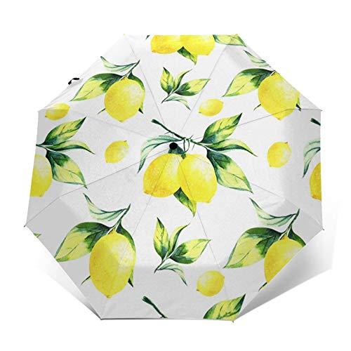 Paraguas Plegable Automático Impermeable Pintura Fruta Limonero, Paraguas De Viaje Compacto a Prueba De Viento, Folding Umbrella, Dosel Reforzado, Mango Ergonómico