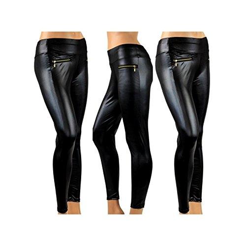 LEGGINGS dames latex zakken FRONTALI - ZWART - GROOTTE XL/XXL