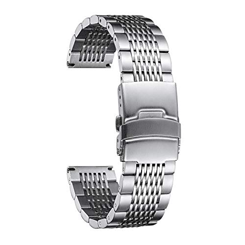 Edelstahl Ersatzarmband kompatibel mit Samsung Galaxy Watch 46mm/Samsung Gear S3 Frontier/Gear S3 Classic, 22mm Uhrenarmband für Huawei Watch GT2 46mm/GT 46mm/Amazfit GTR 47mm/Amazfit Pace/Stratos
