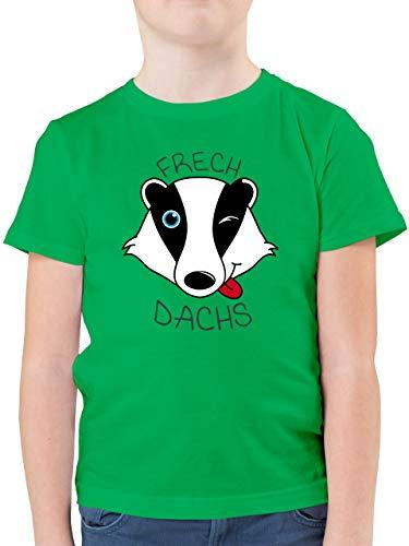 Up to Date Kind - Frechdachs - 116 (5/6 Jahre) - Grün - Tier Tshirt - F130K - Kinder Tshirts und T-Shirt für Jungen