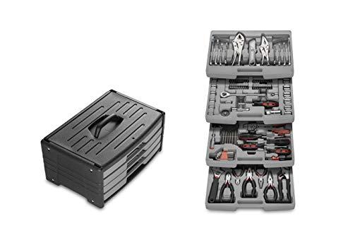WOLFGANG 105- delige gereedschapskoffer, Met handvat, Grote gereedschapskoffer gevuld met sleutel, Steeksleutelset, Tang, Schroevendraaierset, 105 delig, 4 laden
