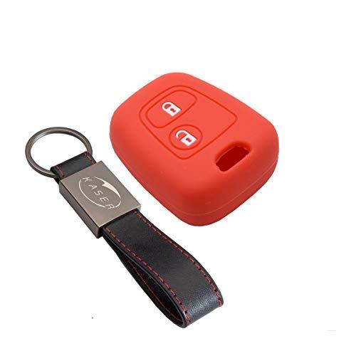 Funda Silicona para Llave Peugeot Citroen – Carcasa Llaveros para Coche Peugeot 207 307 406 407 Citroen C1 C2 C3 Cover Case Protección Mando Distancia Auto (Rojo)