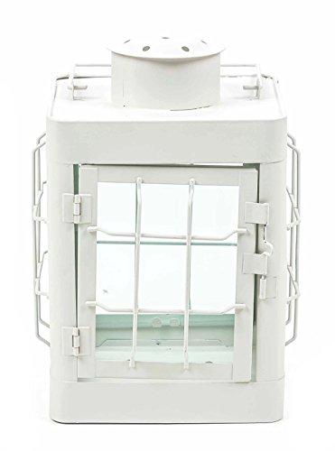 ArtiCasa Metalllaterne kompakt, Postionslampen-Design, Glaseinsätze, modern, Größeca.24,5cm, lieferbarinden Farben Schwarz,Weiß oderBlau (Weiß)