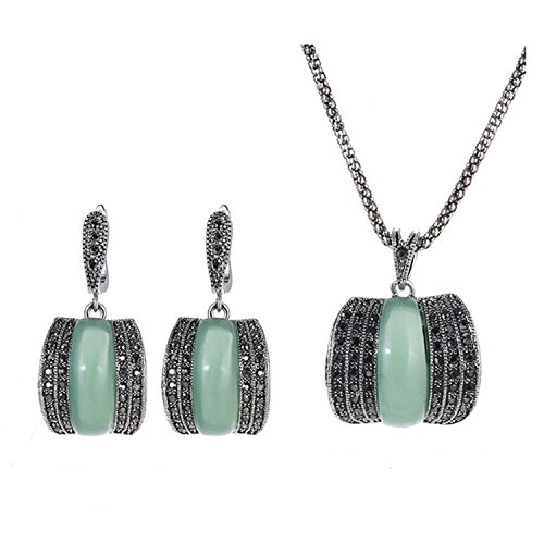 Yfnfxl Vintage Green Stone Fine Jewelry Sets for Women CZ Earrings and Necklace Jewellery Set for Women