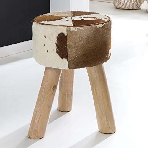 FineBuy Design Sitzhocker FB6427 Holz 35x50x35 cm Modern Fußhocker Rund | Turnbock Dreibein-Hocker Holzbeine | Hocker Massivholz | Kleiner Fußhocker Gepolstert | Holzhocker Klein
