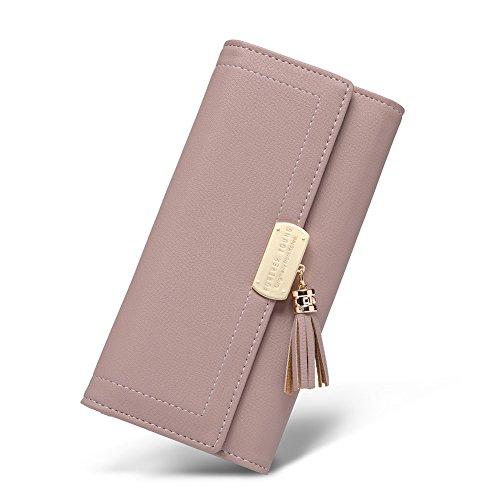 CLUCIGeldbörse Damen Elegant Leder Lang Geldbeutel Frauen Portemonnaie mit Viele Kartenfächer , Pink12-pink, Large