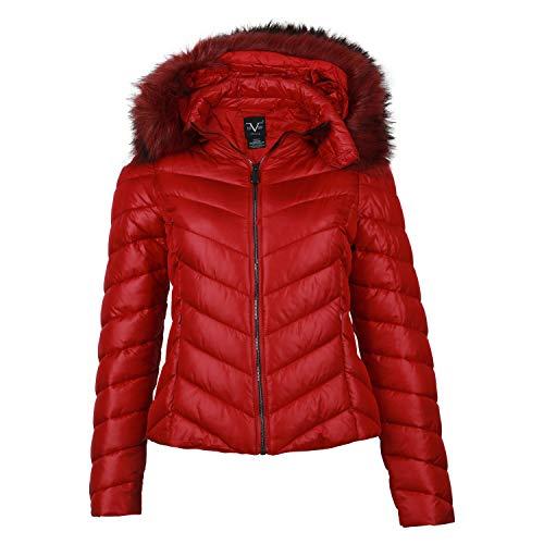 19V69 by Versace 1969 Abbigliamento Sportivo SRL Damen Steppjacke Zipper Kapuze Freizeitjacke Kunstfell Gesteppte Jacke Rot Red 38