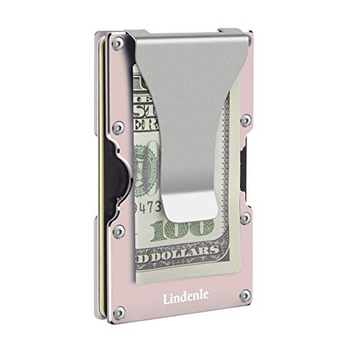 Lindenle Womens Minimalist Slim Wallet RFID Blocking Aluminum Card Holder Money Clip