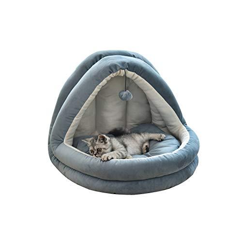 Cama nido para mascotas suave para perros, acogedora cueva para perros y gatos, casa para perros a prueba de viento, bolsa de dormir para gatos que se esconde térmicamente con cojín extraíble (azul