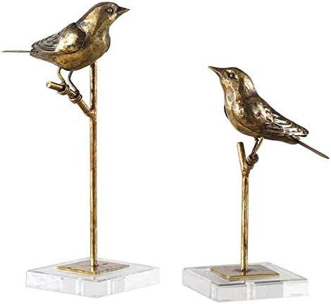 new arrival Uttermost 18898 Passerines Antiqued online sale Gold Leaf Bird Tabletop Sculptures, outlet online sale 2-Piece Set outlet sale