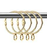 Coideal 20 Pack Tenda d'oro Anelli rustproof Metallo Drappo Loop con Occhielli Aperti per casa Cucina useage (Oro, 1,5 Pollici)