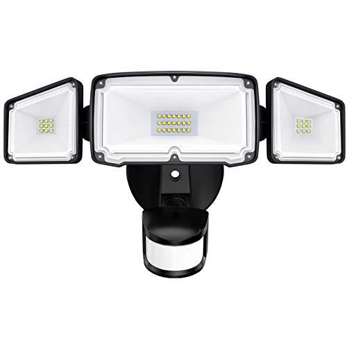 Amico 3 Head LED Security Lights Motion Sensor Outdoor Adjustable 40W, 3500LM, 5000K, IP65 Waterproof, ETL Certified, Exterior Flood Light for Garage, Yard(Black)