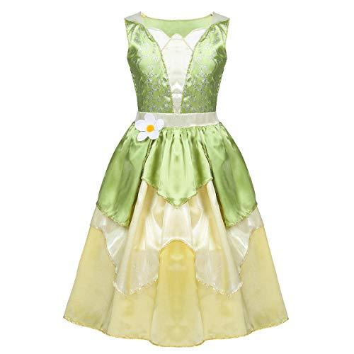 Agoky Vestido Tutu de Princesa para Niñas Brillantes Verde Disfraces de Halloween Infantil Traje de Princesa Sin Mangas con Flores Cosplay