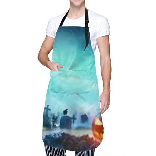 RAUP Unisex Schürze, wasserdicht langlebig verstellbar Jack O Laternen Zombie Hände steigende Kochschürzen Malschürze zum Geschirrspülen BBQ Grill Restaurant Garden