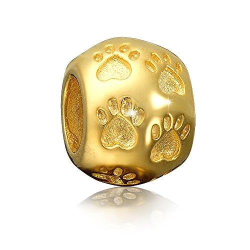 Andante-Stones - Premium Collection - Gold Bead Charm Pfoten 925 Sterling Silber Pfote Tierpfote Element Kugel für European Beads Modul Armband + Organzasäckchen