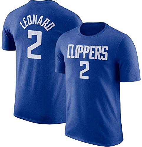 NBA Los hombres de Jersey, (4 estilos) Clippers Leonard # 2, versión retro de los de cuello redondo de manga corta de la camiseta adolescente Loose Short deportes Jersey 2019 2020 versión urbana,3,L