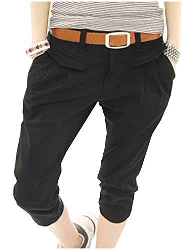 [ライオンガーデン] パンツ 夏 通勤 チノ ハーフパンツ スポーツ トレーニング おしゃれ 速乾 M ~ XL レディース (XL, ブラック)