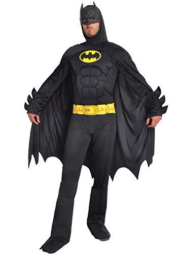Ciao- Batman Dark Knight Costume Adulto Originale DC Comics (Taglia L) con Muscoli pettorali Imbottiti, Colore Nero, L, 11718.L