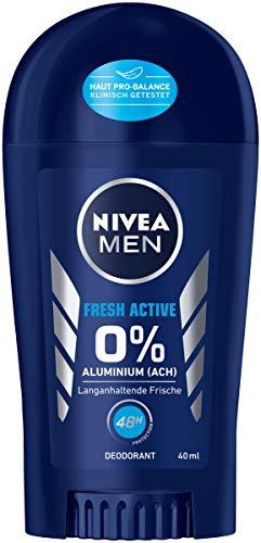 NIVEA MEN Fresh Active Deo Stift (40 ml), Deo ohne Aluminium (ACH) mit erfrischender Formel, Deodorant Stick mit 48h Schutz pflegt die Haut