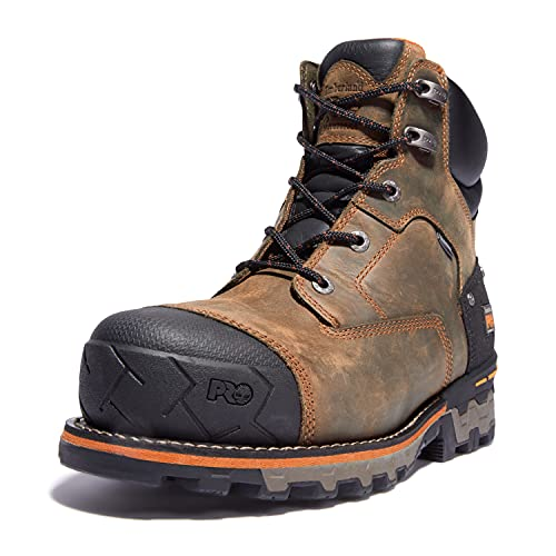 Timberland PRO Men's Boondock 6 Inch Composite Safety Toe Waterproof Industrial Work Boot, Brown Oiled Distressed, 10