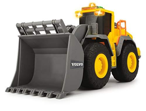 Dickie Toys Volvo Radlader, Spielzeugbagger, Bagger, Lader, Baustellenfahrzeug, Baustelle, Spielzeugauto, Sandkasten, Licht & Sound, 23 cm, gelb/grau