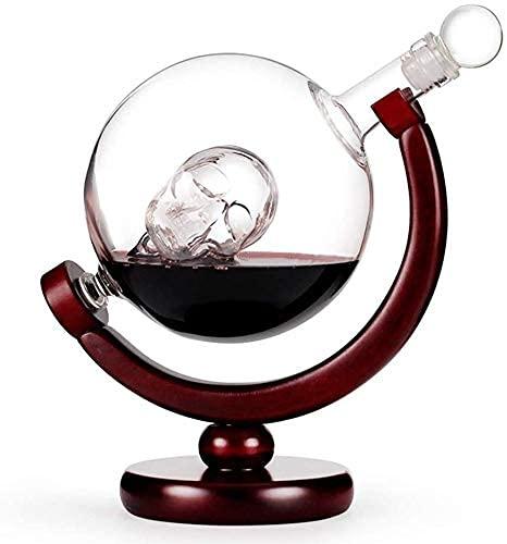 Decantador de whisky Skull Decanter, globo de cristal transparente de rotación incluye 2 tazas de tiro de cráneo, dispensador de licor con soporte de madera, decantador de whisky con nave antiguo vaso