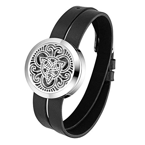 Essential Aromatherapy Oil Diffuser Locket Hollow Celtic Charm Leather Wrap Bracelet with 6 Color Pads,Size Adjustable,Black