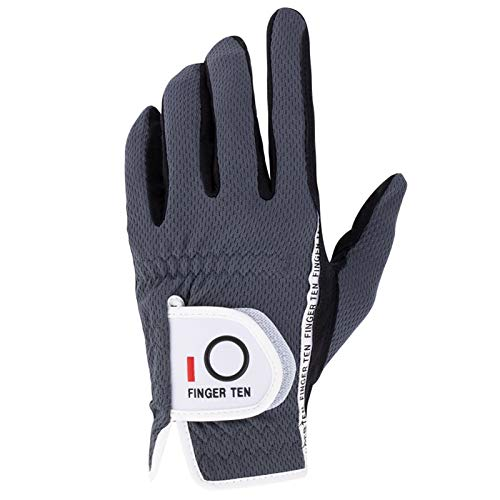 FINGER TEN Men's Golf Glove Rain Grip Black Grey Left Hand Pack, Durable Fit for Hot Wet All Weather, Size Small Medium Large XL (Grey, M/Large)