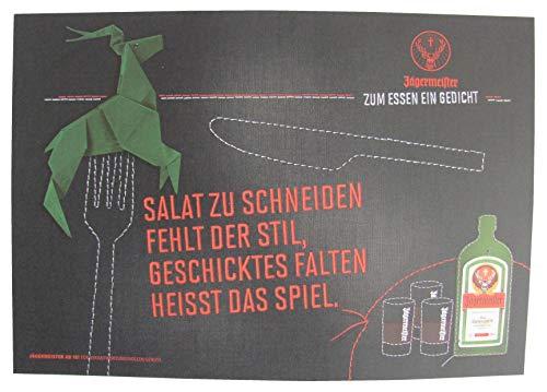 Jägermeister - Platzdeckchen aus Papier 38,5 x 26,8 cm - Salat zu schneiden fehlt der Stil, geschicktes Falten heisst Das Spiel