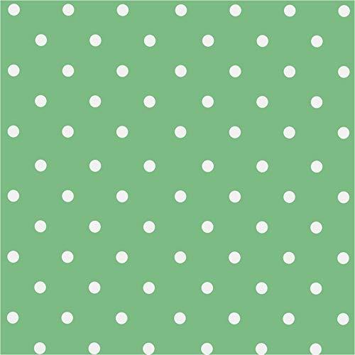 LILENO HOME Mantel lavable por metros 310 x 140 cm (borde cortado) en puntos menta, mantel de hule impermeable ideal como mantel o camino de mesa para jardín