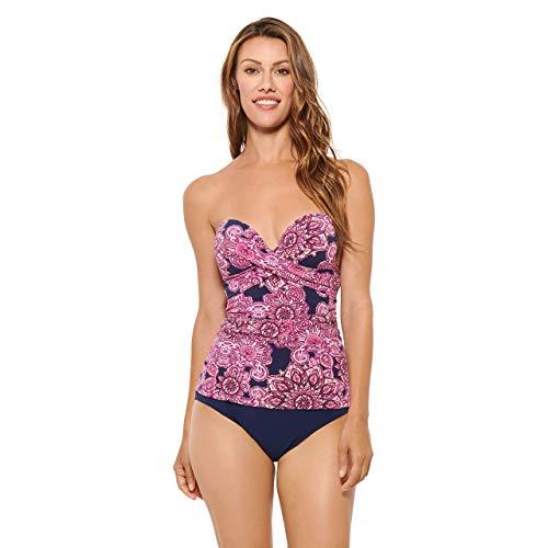Christina Women's Molded Cup Bandeau Tankini Top Swimsuit, Mandala Heat Berry, 10